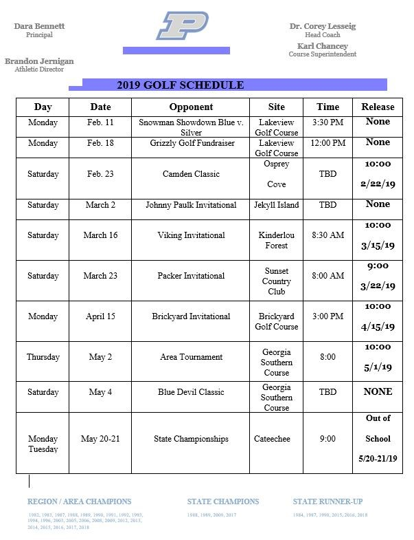 boys golf schedule