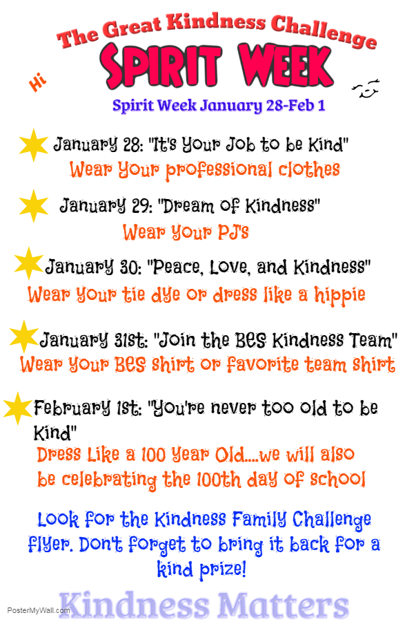 The Great Kindness Challenge Dress Up Days