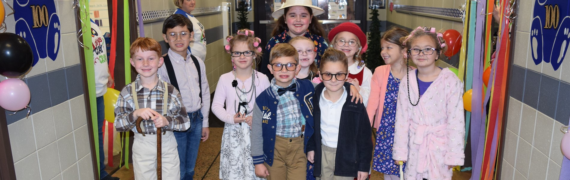 MES celebrated 100 days of school by dressing as 100 year-olds and by celebrating the number 100.